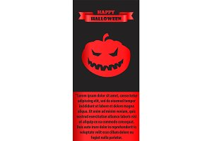 Happy Halloween Poster with Silhouette of Pumpkin