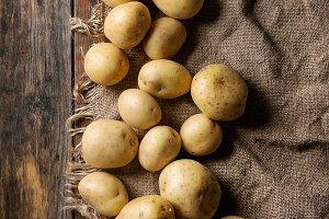 Raw organic potatoes
