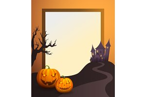 Halloween Photo Frame with Old Castle and Pumpkins