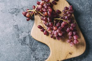 Grapes on serving board