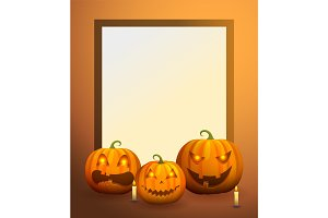 Photo Frame with Pumpkin Lanterns and Candles