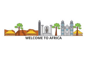 Africa outline skyline, african flat thin line icons, landmarks, illustrations. Africa cityscape, african travel city vector banner. Urban silhouette