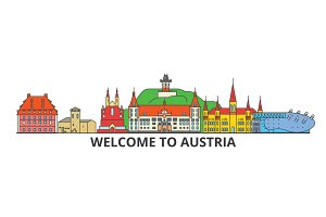 Austria outline skyline, austrian flat thin line icons, landmarks, illustrations. Austria cityscape, austrian travel city vector banner. Urban silhouette