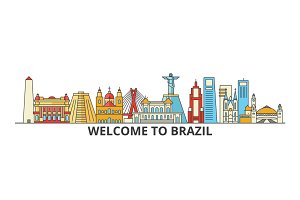 Brazil outline skyline, brazilian flat thin line icons, landmarks, illustrations. Brazil cityscape, brazilian travel city vector banner. Urban silhouette