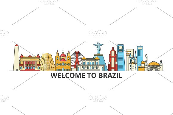 Brazil Outline Skyline Brazilian Flat Thin Line Icons Landmarks Illustrations Brazil Cityscape Brazilian Travel City Vector Banner Urban Silhouette