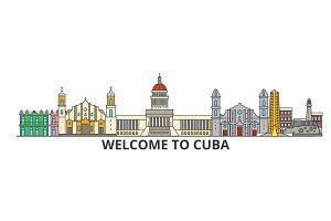 Cuba outline skyline, cuban flat thin line icons, landmarks, illustrations. Cuba cityscape, cuban travel city vector banner. Urban silhouette