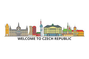 Czech republic outline skyline, Czech flat thin line icons, landmarks, illustrations. Czech republic cityscape, Czech travel city vector banner. Urban silhouette