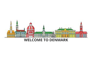 Denmark outline skyline, danish flat thin line icons, landmarks, illustrations. Denmark cityscape, danish travel city vector banner. Urban silhouette