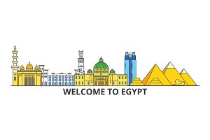 Egypt outline skyline, Egyptian flat thin line icons, landmarks, illustrations. Egypt cityscape, Egyptian travel city vector banner. Urban silhouette