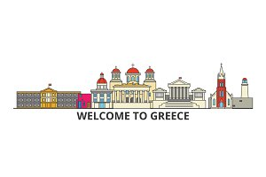 Greece outline skyline, greek flat thin line icons, landmarks, illustrations. Greece cityscape, greek travel city vector banner. Urban silhouette