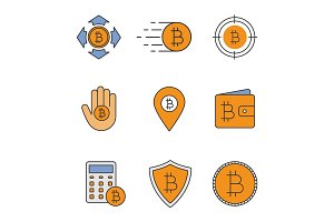 Bitcoin color icons set