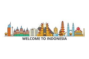 Indonesia outline skyline, indonesian flat thin line icons, landmarks, illustrations. Indonesia cityscape, indonesian travel city vector banner. Urban silhouette