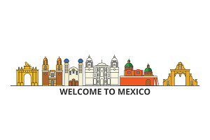 Mexico outline skyline, mexican flat thin line icons, landmarks, illustrations. Mexico cityscape, mexican travel city vector banner. Urban silhouette