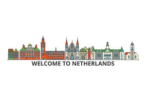 Netherlands outline skyline, dutch flat thin line icons, landmarks, illustrations. Netherlands cityscape, dutch travel city vector banner. Urban silhouette