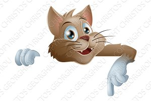 Cartoon Cat Pointing Down