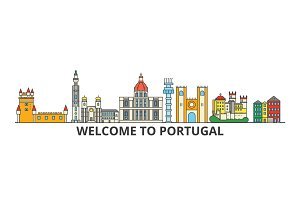 Portugal outline skyline, Portuguese flat thin line icons, landmarks, illustrations. Portugal cityscape, Portuguese travel city vector banner. Urban silhouette