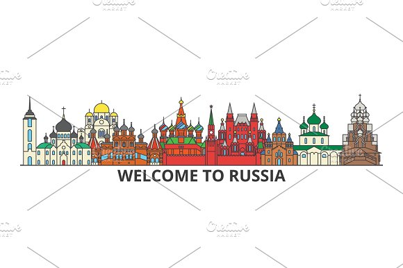 Russia outline skyline, russian flat thin line icons, landmarks, illustrations. Russia cityscape, russian travel city vector banner. Urban silhouette