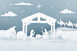 Nativity Christmas Scene Paper Art Style