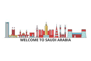Saudi Arabia outline skyline, arab flat thin line icons, landmarks, illustrations. Saudi Arabia cityscape, arab travel city vector banner. Urban silhouette