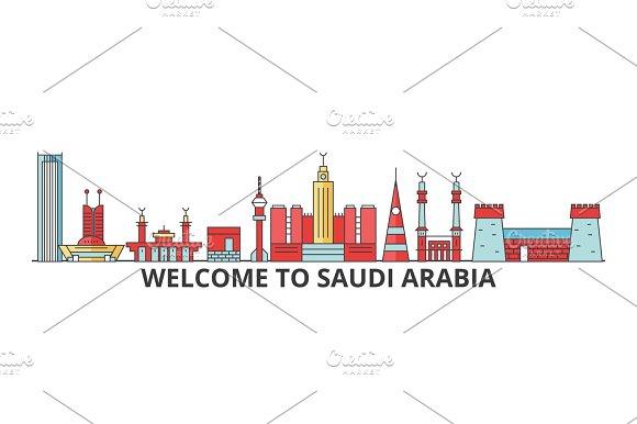 Saudi Arabia outline skyline, arab flat thin line icons, landmarks, illustrations. Saudi Arabia cityscape, arab travel city vector banner. Urban silhouette