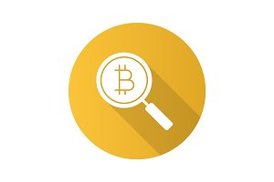Bitcoin research flat design long shadow glyph icon