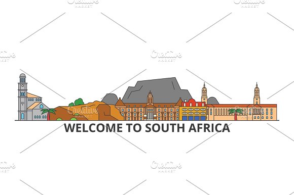 South Africa outline skyline, african flat thin line icons, landmarks, illustrations. South Africa cityscape, african travel city vector banner. Urban silhouette