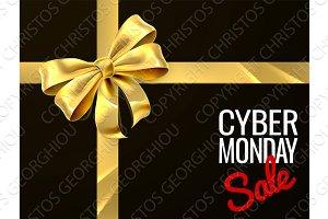 Cyber Monday Sale Gift Bow Ribbon Design
