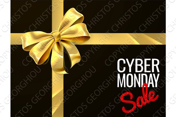 Cyber Monday Sale Gift Bow Ribbon Design in Illustrations