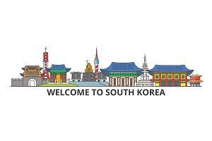 South Korea outline skyline, korean flat thin line icons, landmarks, illustrations. South Korea cityscape, korean travel city vector banner. Urban silhouette