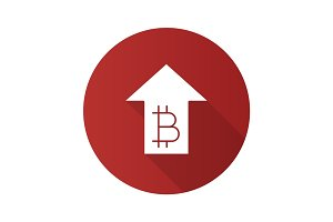Bitcoin rate rising flat design long shadow glyph icon