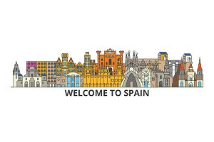 Spain outline skyline, spanish flat thin line icons, landmarks, illustrations. Spain cityscape, spanish travel city vector banner. Urban silhouette