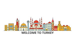 Turkey outline skyline, turkish flat thin line icons, landmarks, illustrations. Turkey cityscape, turkish travel city vector banner. Urban silhouette