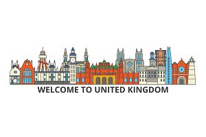 United Kingdom outline skyline, british flat thin line icons, landmarks, illustrations. United Kingdom cityscape, british travel city vector banner. Urban silhouette