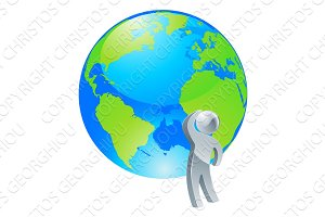 Looking up globe silver person concept