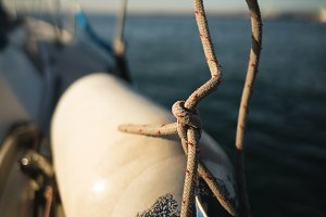 Gas cylinder on the boat