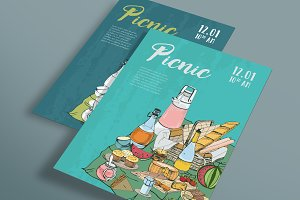 Poster, banner, placard for a picnic