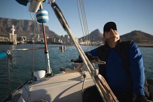 Yachtsman sitting on the boat