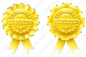 Gold winner rosettes