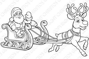 Santa Claus Christmas Fling Sleigh Sled Reindee