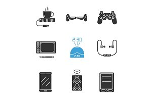 Gadgets glyph icons set