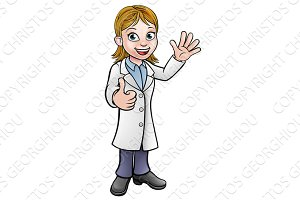 Cartoon Woman Scientist Doctor or Lab Tech