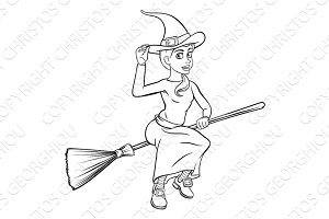 Cartoon Witch Flying on her Broomstick