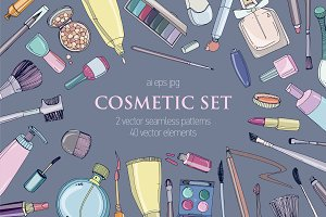 Set, seamless pattern with cosmetics