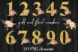 Gold And Floral Numbers Clipart