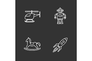 Kids toys chalk icons set