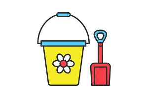 Children bucket and shovel color icon