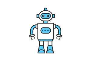 Toy robot color icon