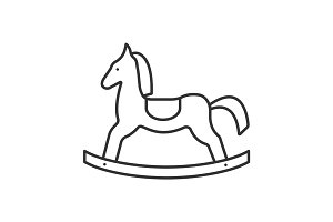 Rocking horse linear icon