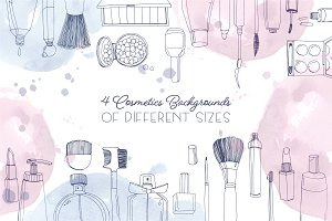 Horizontal background with cosmetics