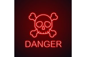 Skull with crossbones neon light icon
